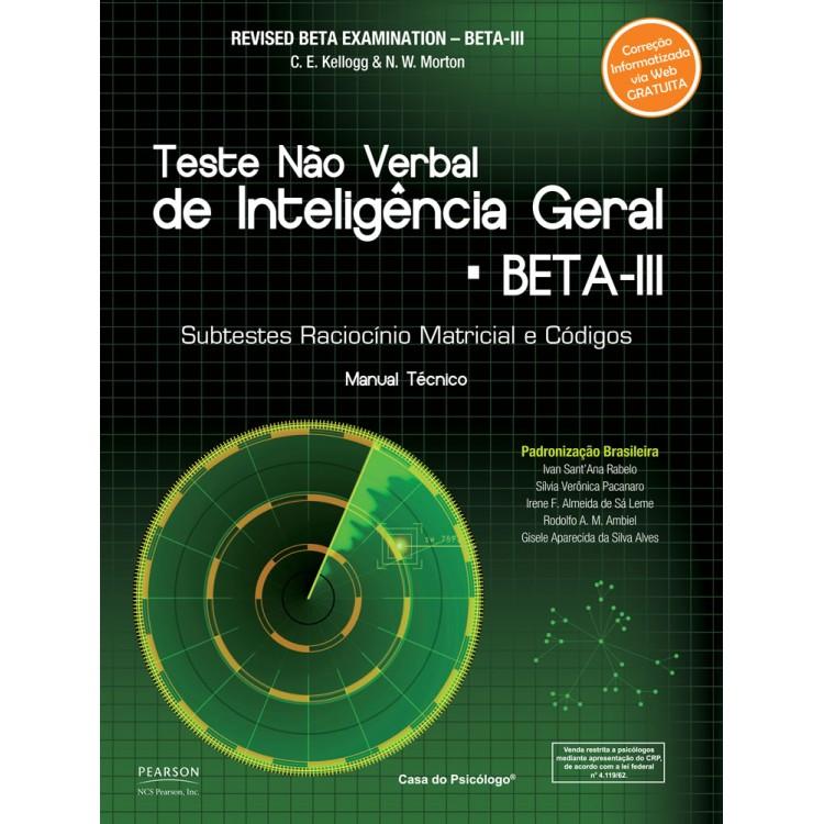 BETA III Teste Não Verbal de Inteligência Geral- kit